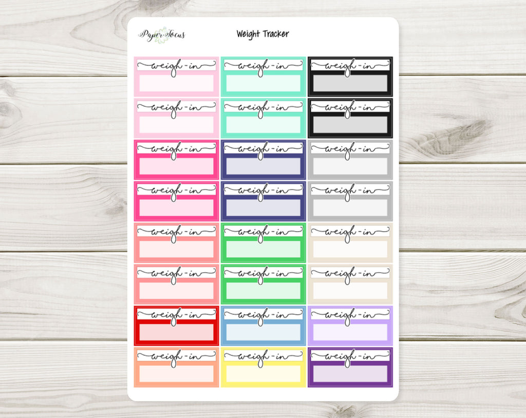 Weight Tracker - Multicolor - Planner Stickers - Paper Focus Co.