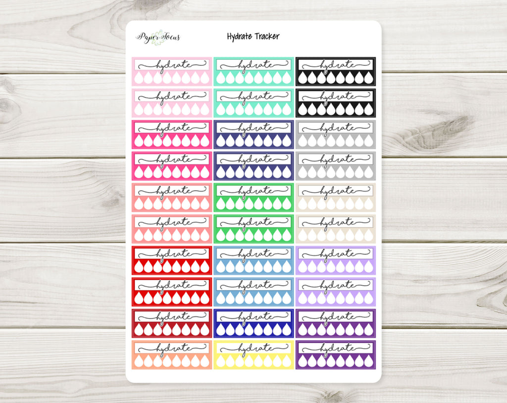 Hydrate Tracker - Multicolor - Planner Stickers - Paper Focus Co.