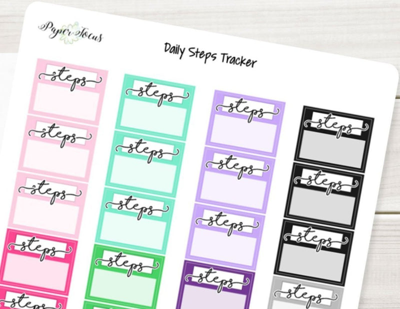 Daily Steps Tracker - Multicolor - Planner Stickers - Paper Focus Co.
