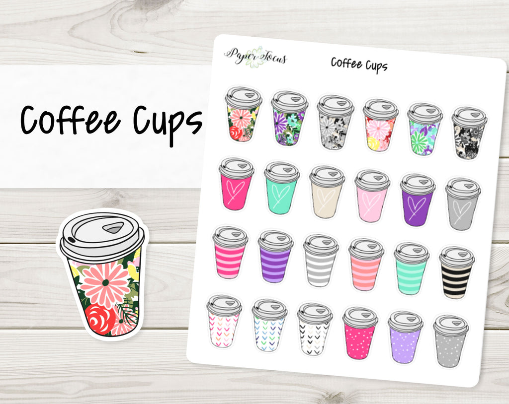 Coffee Cups - Planner Stickers - Paper Focus Co.