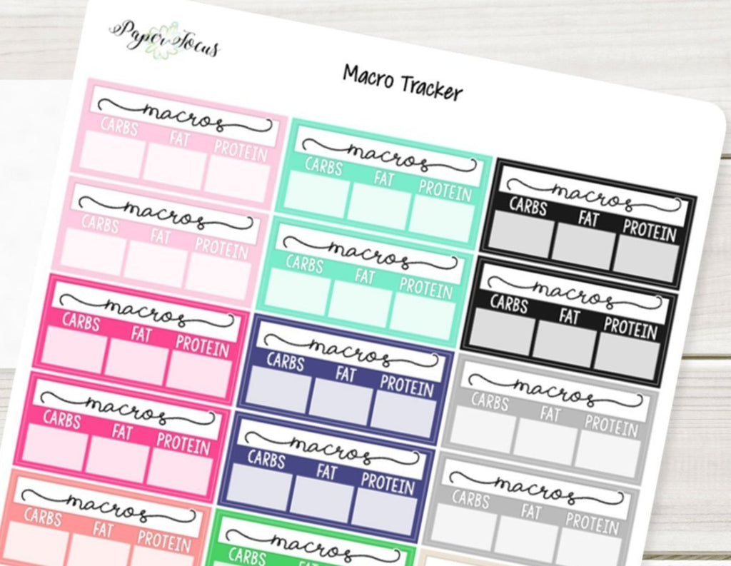 Macro Tracker - Multicolor - Planner Stickers - Paper Focus Co.