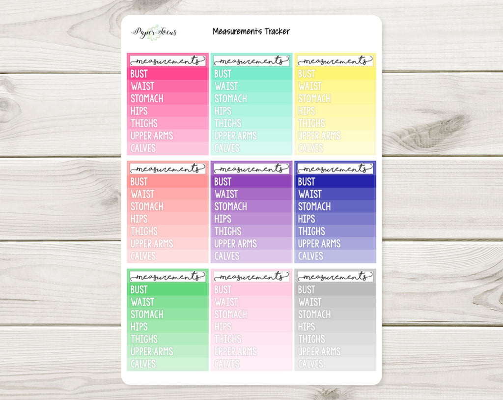 Body Measurements Tracker - Multicolor - Planner Stickers - Paper Focus Co.