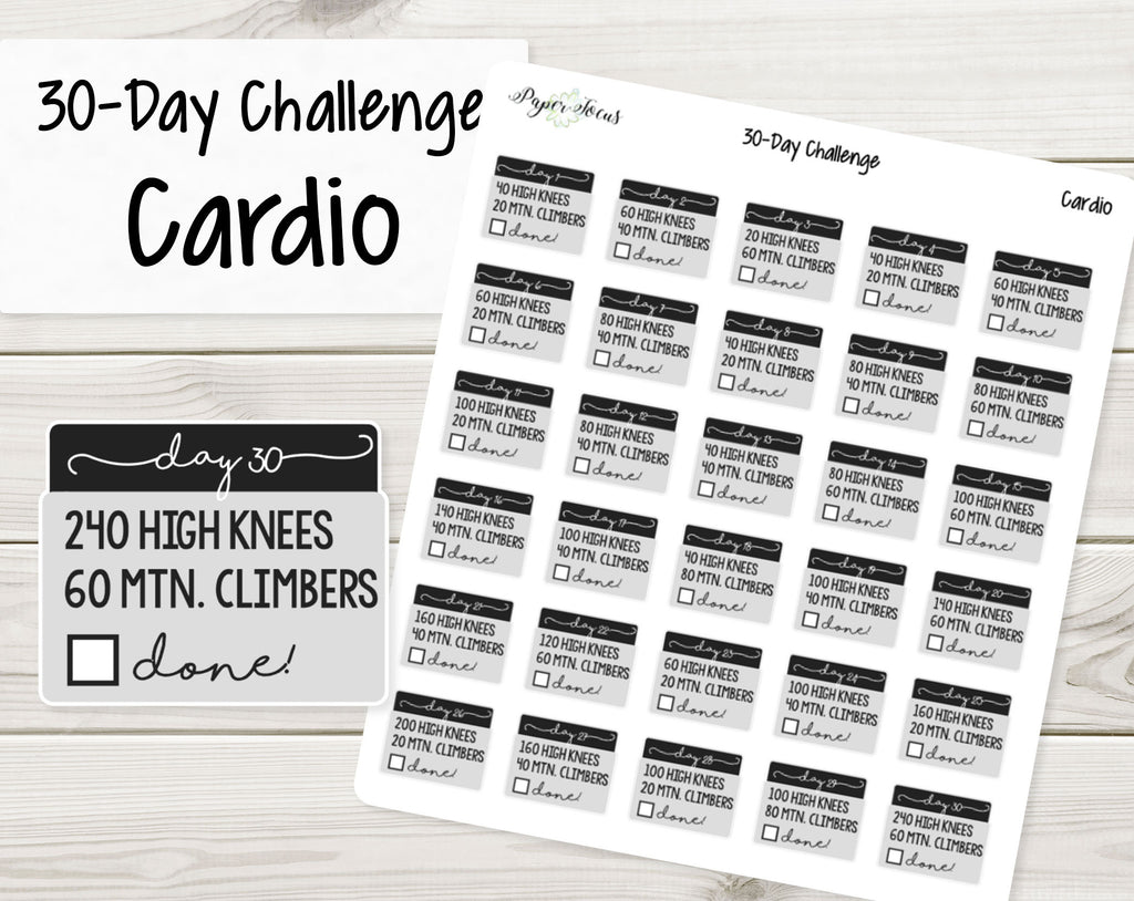 30-Day Challenge Stickers - Cardio - Paper Focus Co.