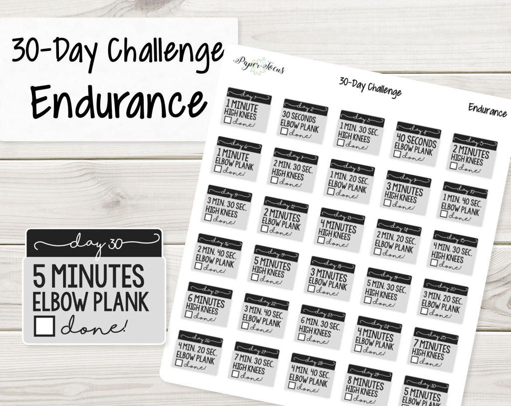 30-Day Challenge Stickers - Endurance - Paper Focus Co.