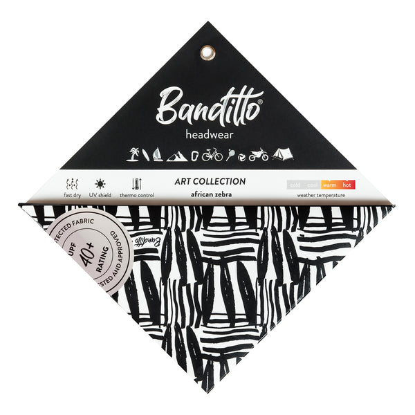 banditto headwear head accessory multifunctional bandana sports african zebra upf uv protection surf mountain trekking running beach