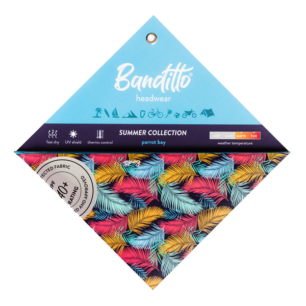banditto headwear head accessory multifunctional bandana sports colorful feathers multicolor  parot bay palm trees upf uv protection surf mountain trekking running beach