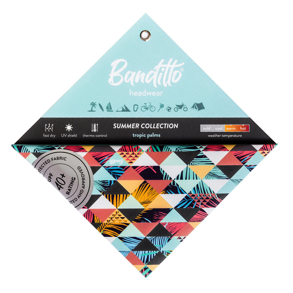 banditto headwear head accessory multifunctional bandana sports tropic palms triangle pattern palm leaves coral mint white upf uv protection surf mountain trekking running beach