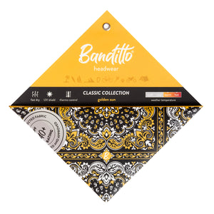banditto headwear head accessory multifunctional bandana sports black yellow classic upf uv protection surf mountain trekking running beach