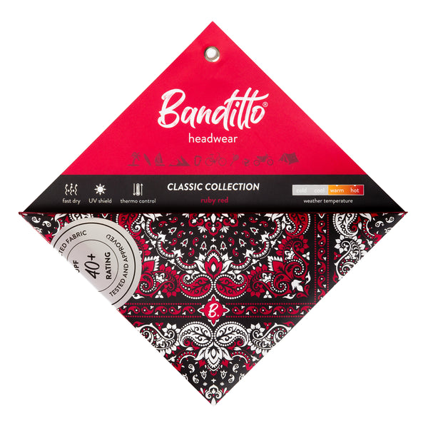banditto headwear head accessory multifunctional bandana sports red black classic ruby upf uv protection surf mountain trekking running beach