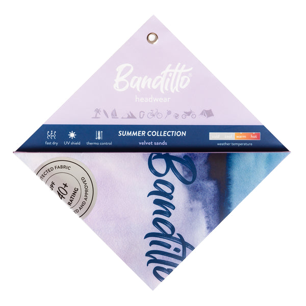 banditto headwear head accessory multifunctional bandana sports blue purple violet velvet sands upf uv protection surf mountain trekking running beach
