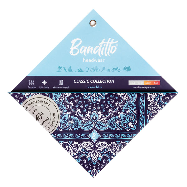 banditto headwear head accessory multifunctional bandana sports blue ocean classic upf uv protection surf mountain trekking running beach