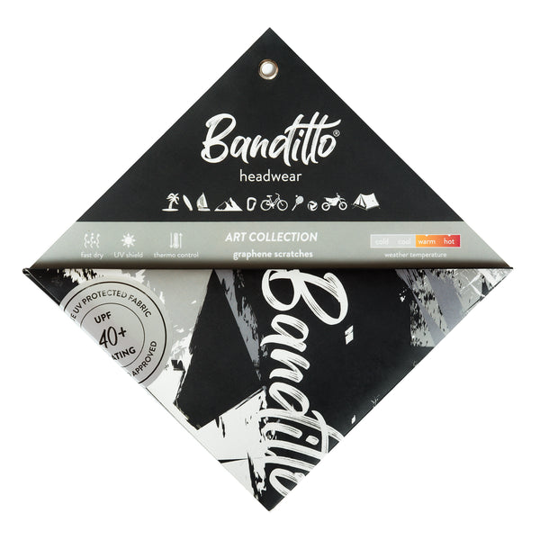 banditto headwear head accessory multifunctional bandana sports black grey white graphite upf uv protection surf mountain trekking running beach