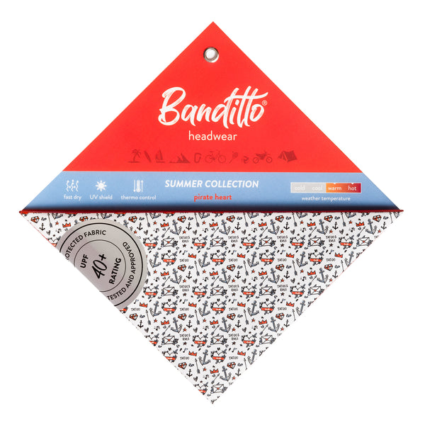 banditto headwear head accessory multifunctional bandana sports pirate heart blue red white tattoo ancor upf uv protection surf mountain trekking running beach