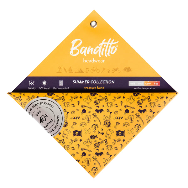 banditto headwear head accessory multifunctional bandana sports treasure hunt yellow skulls pirate shark blue white upf uv protection surf mountain trekking running beach