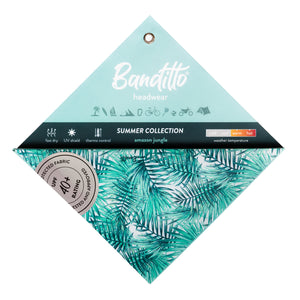 banditto headwear head accessory multifunctional bandana sports palm leaves palms green upf uv protection surf mountain trekking running beach