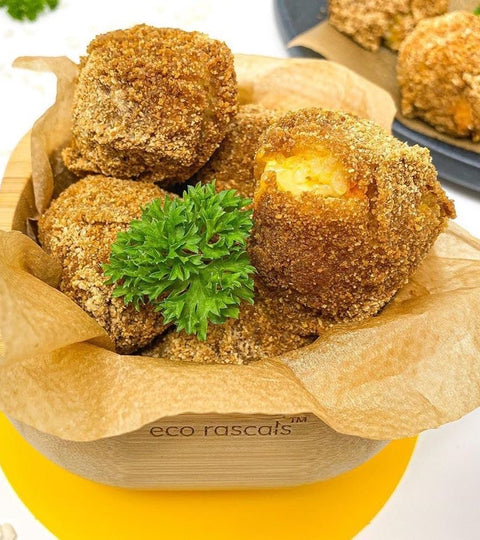 Meat free arancini balls served in an eco rascals bamboo bowl