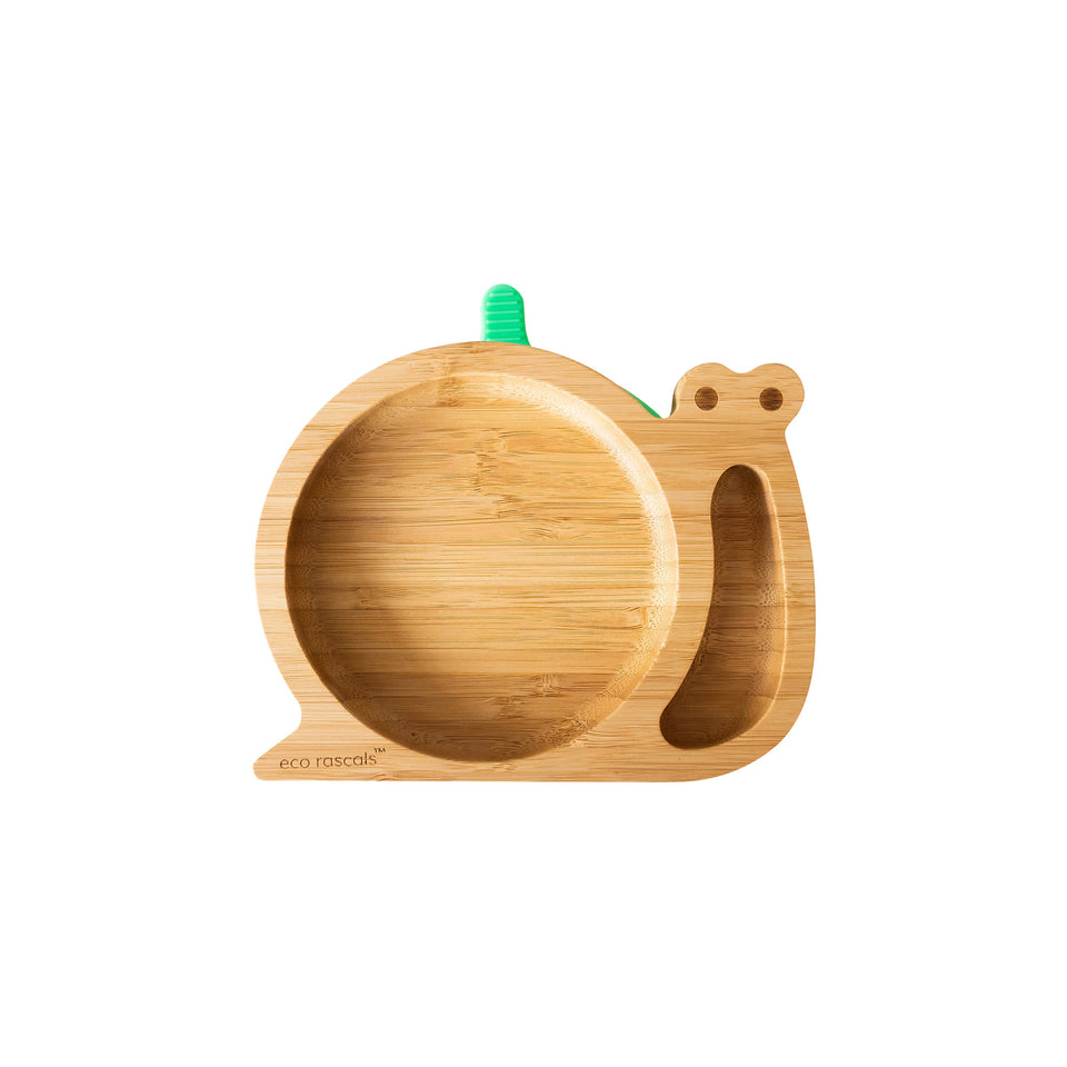 Eco Rascals bamboo suction snail plate