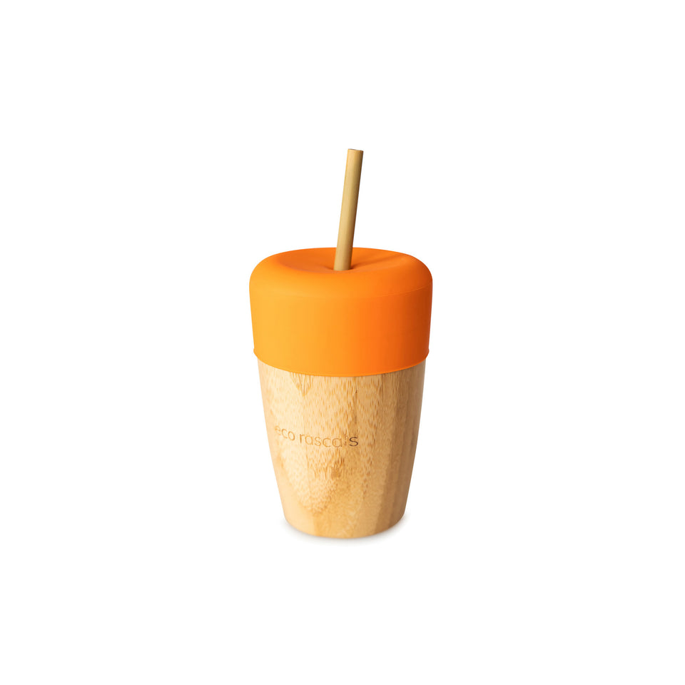 Eco Rascals big oragne cup with straw feeder and 2 bamboo straws