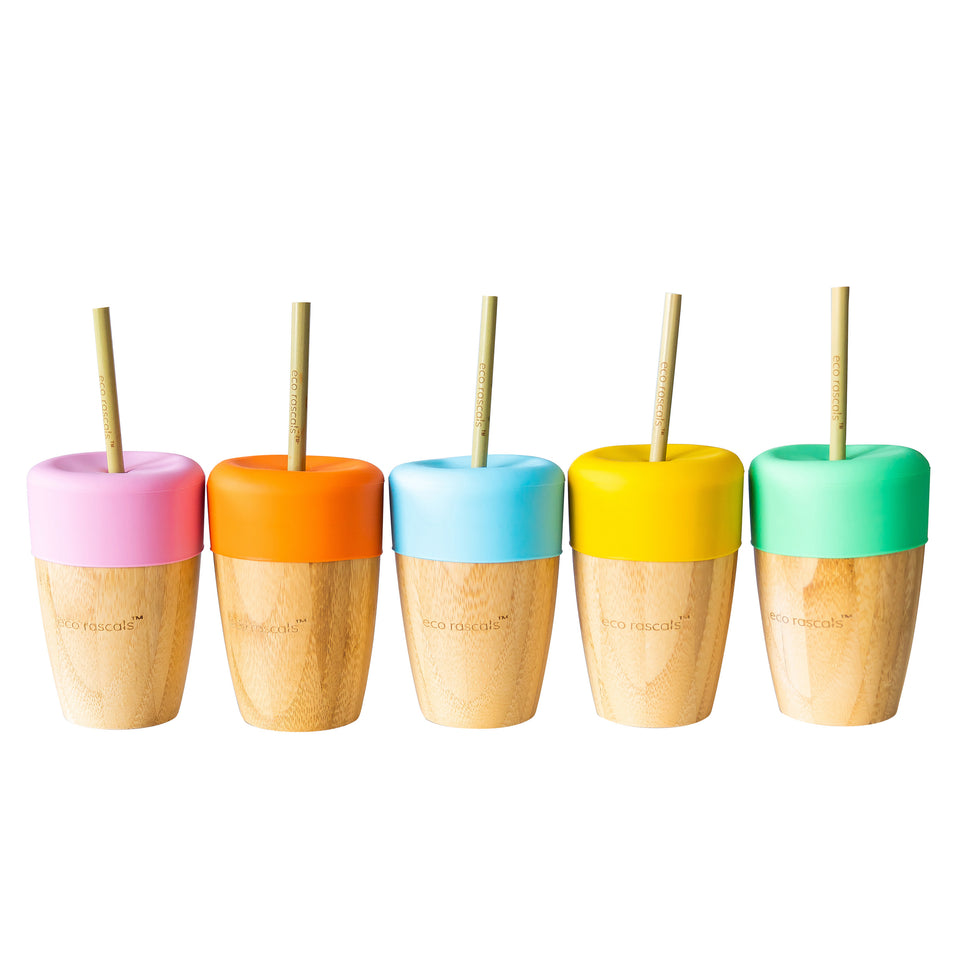 Small bamboo cups with sippy feeder