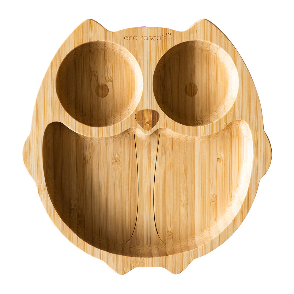 Owl Shaped Bamboo Suction Plate - Three sections plate for kids