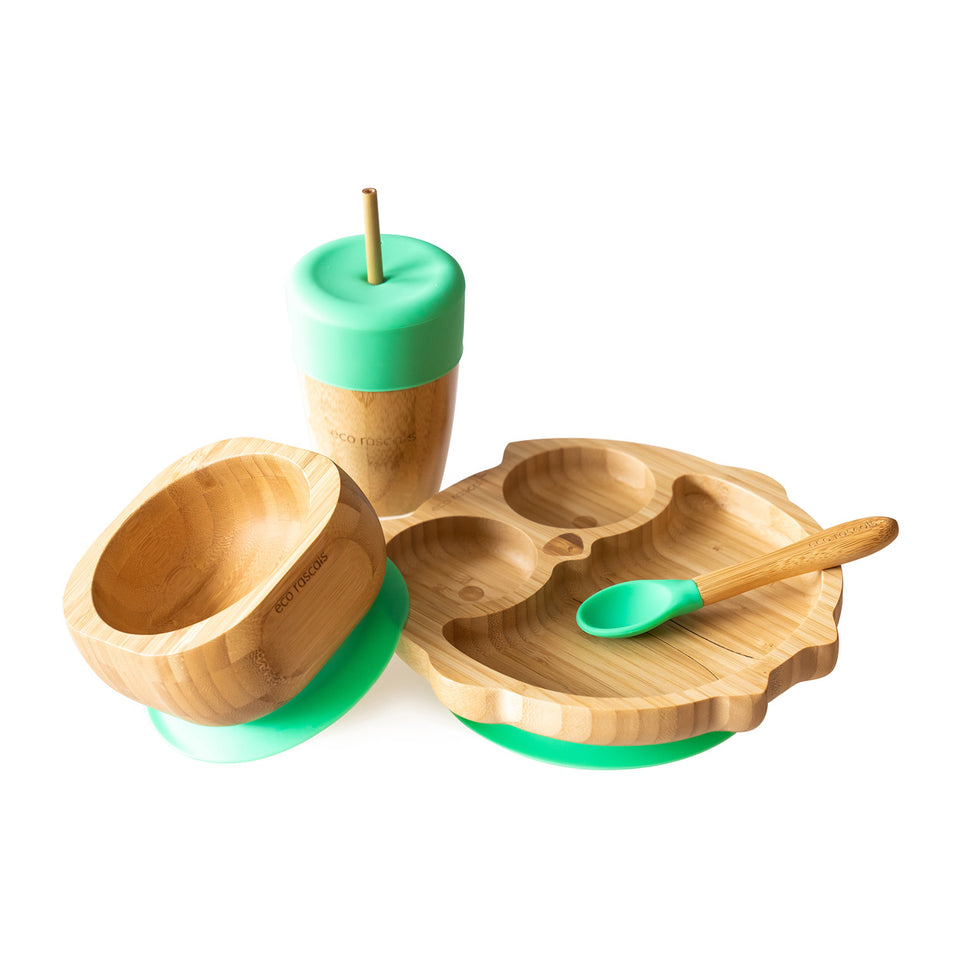 Bamboo owl suction plate, bowl, spoon and cup with silicone straw feeder & straws