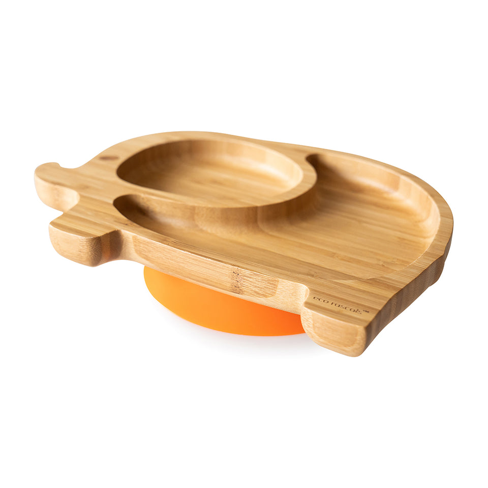 Elephant shaped bamboo suction Plate - two section plate for toddler and kids