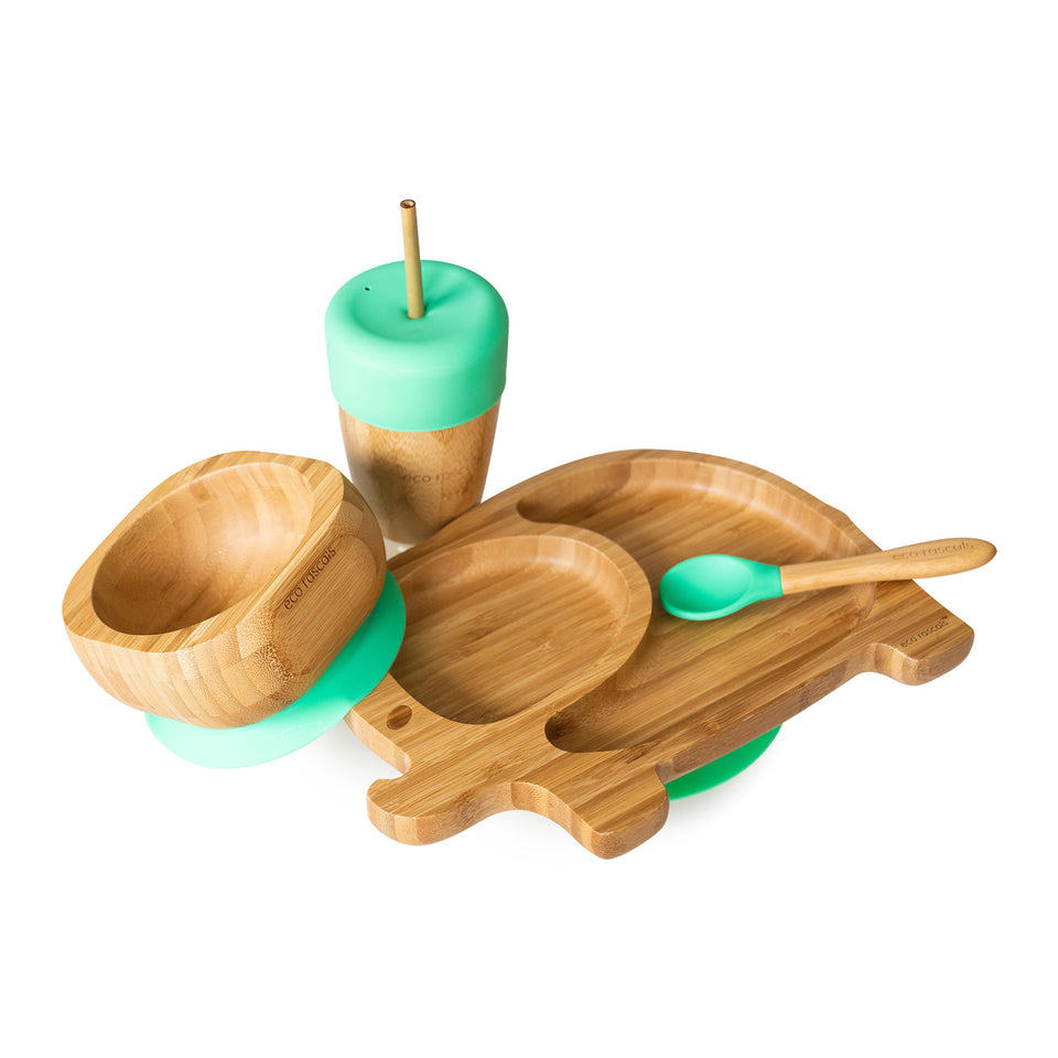 Bamboo elephant suction plate, bowl, spoon and cup with silicone straw feeder & straws