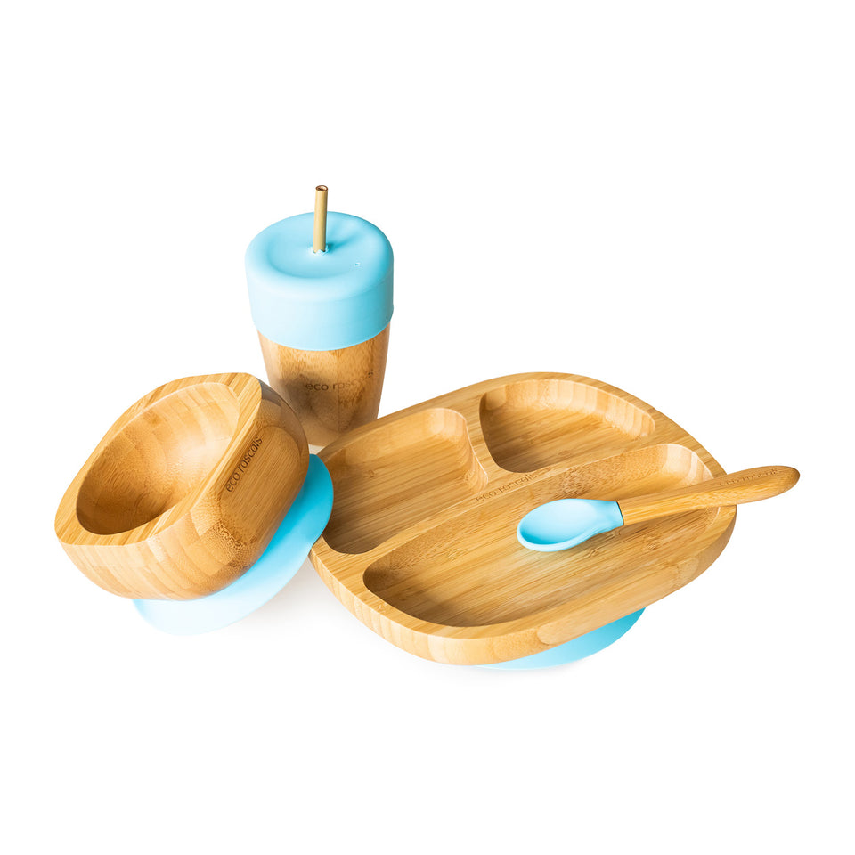 Bamboo toddler suction plate, bowl, spoon and cup with silicone straw feeder & straws