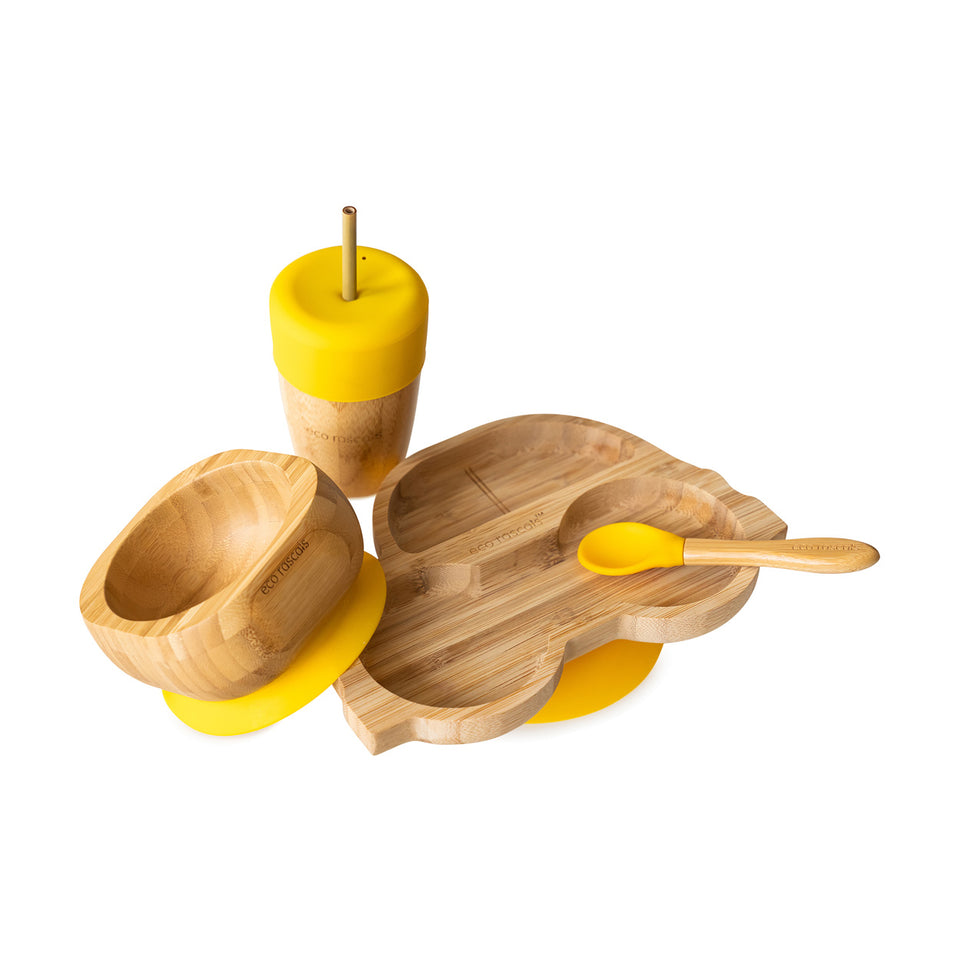 Bamboo car suction plate, bowl, spoon and cup with silicone straw feeder & straws