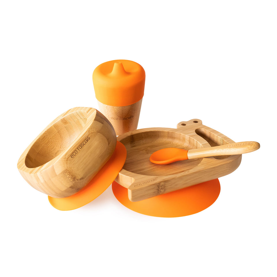 Bamboo snail suction plate, bowl, spoon and cup with silicone sippy feeder