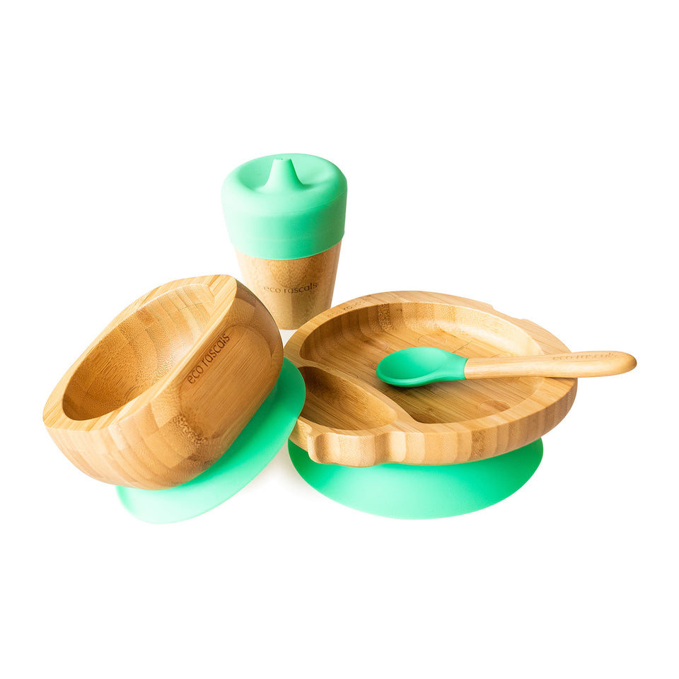 Bamboo ladybird suction plate, bowl, spoon and cup with silicone sippy feeder