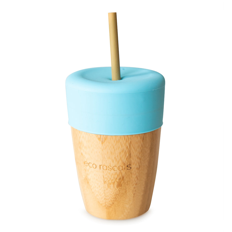 Big cup with straw feeder and 2 bamboo straws