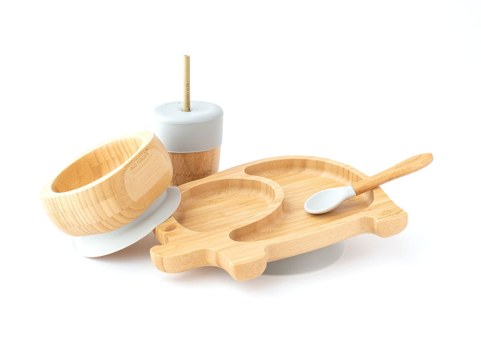 Bamboo elephant suction plate, bowl, spoon-Ecorascals
