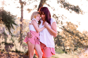 Womens Wrap Shorts DUSTY PINK - AVAILABLE NOW! - Little Balasana handmade kids clothes Australia
