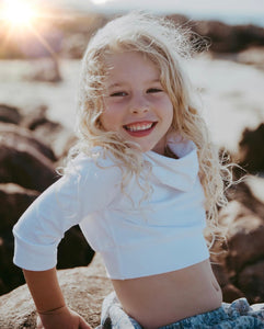 Petite Sweater (Crop Top) - White - Little Balasana handmade kids clothes Australia
