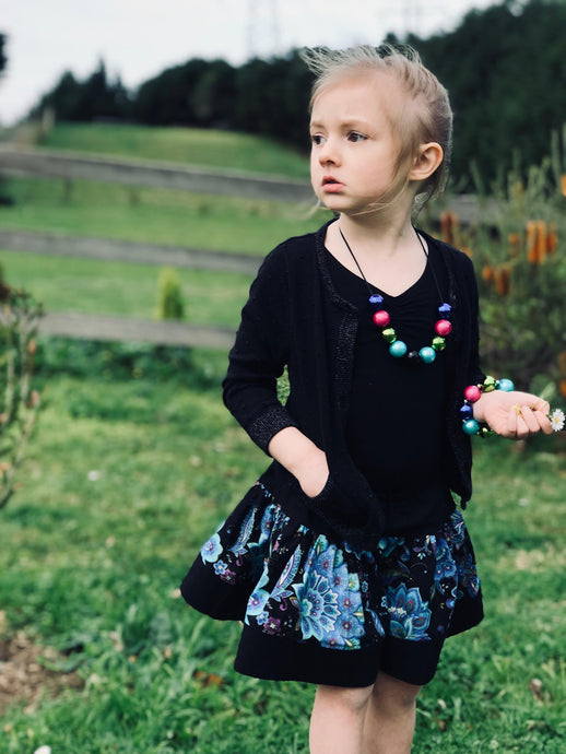 Twirl Skirt - Black & Blue (limited edition print) - Little Balasana handmade kids clothes Australia