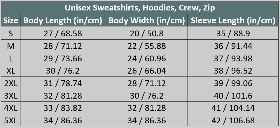 Travel Hoodie Size Chart