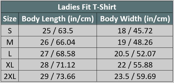Ladies Fit Travel T-Shirt Size Chart