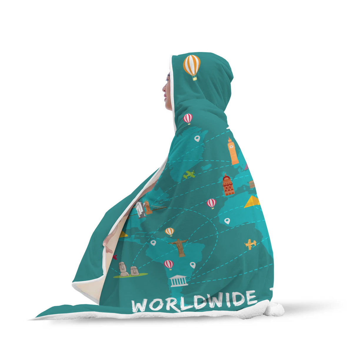 Travel Themed Hooded Blanket: Worldwide Travel Vibes Wrapped