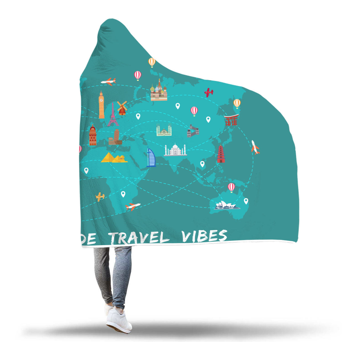 Travel Themed Hooded Blanket: Worldwide Travel Vibes Spread