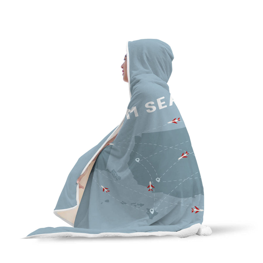 Travel Themed Hooded Blanket: Travel From Sea to Shining Sea Full View