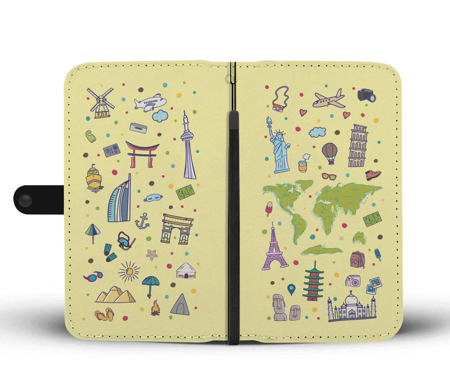 Travel Themed Wallet Phone Case: Iconic Places