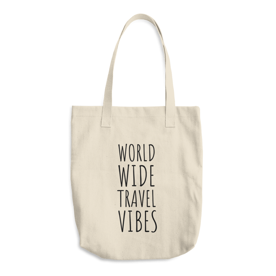 Travel Themed Denim Cotton Tote Bag: Worldwide Travel Vibes