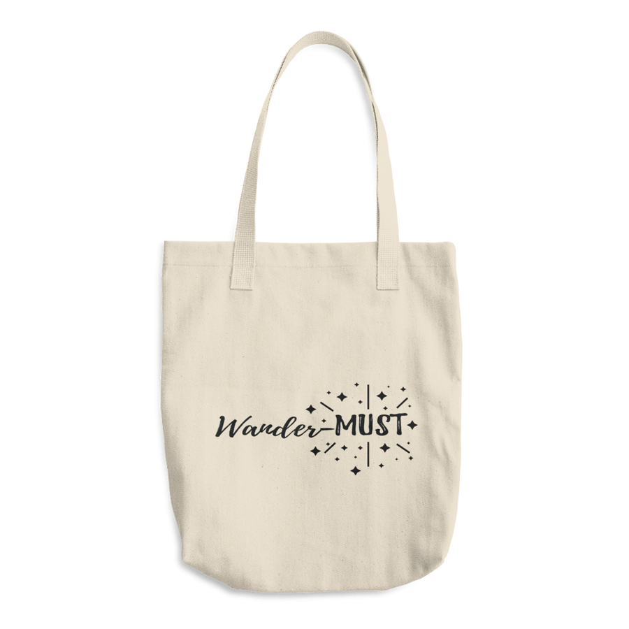 Travel Themed Denim Cotton Tote Bag: Wander-MUST