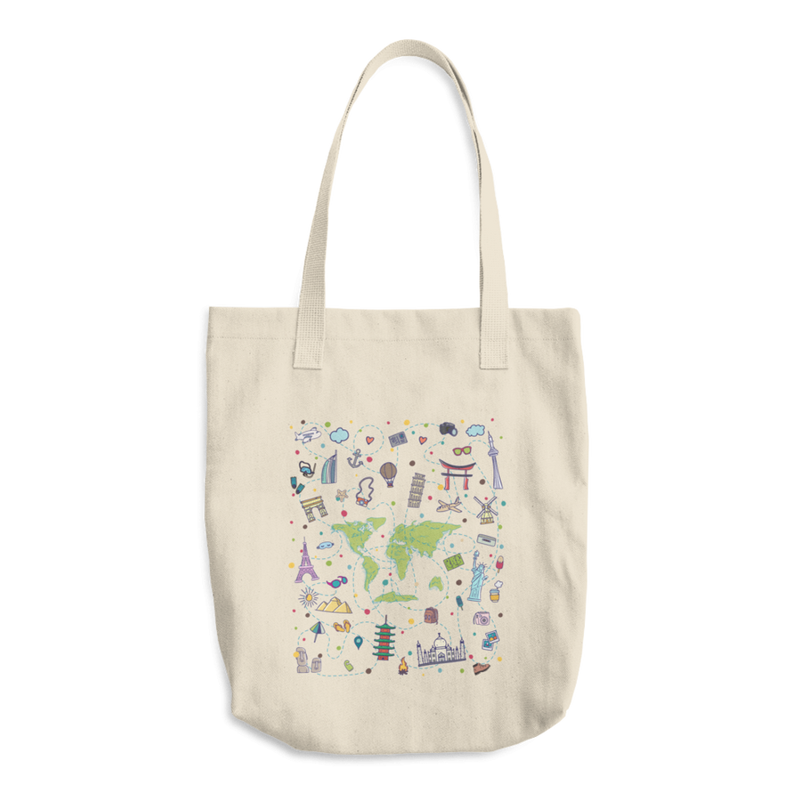 Travel Themed Denim Cotton Tote Bag: Iconic Places