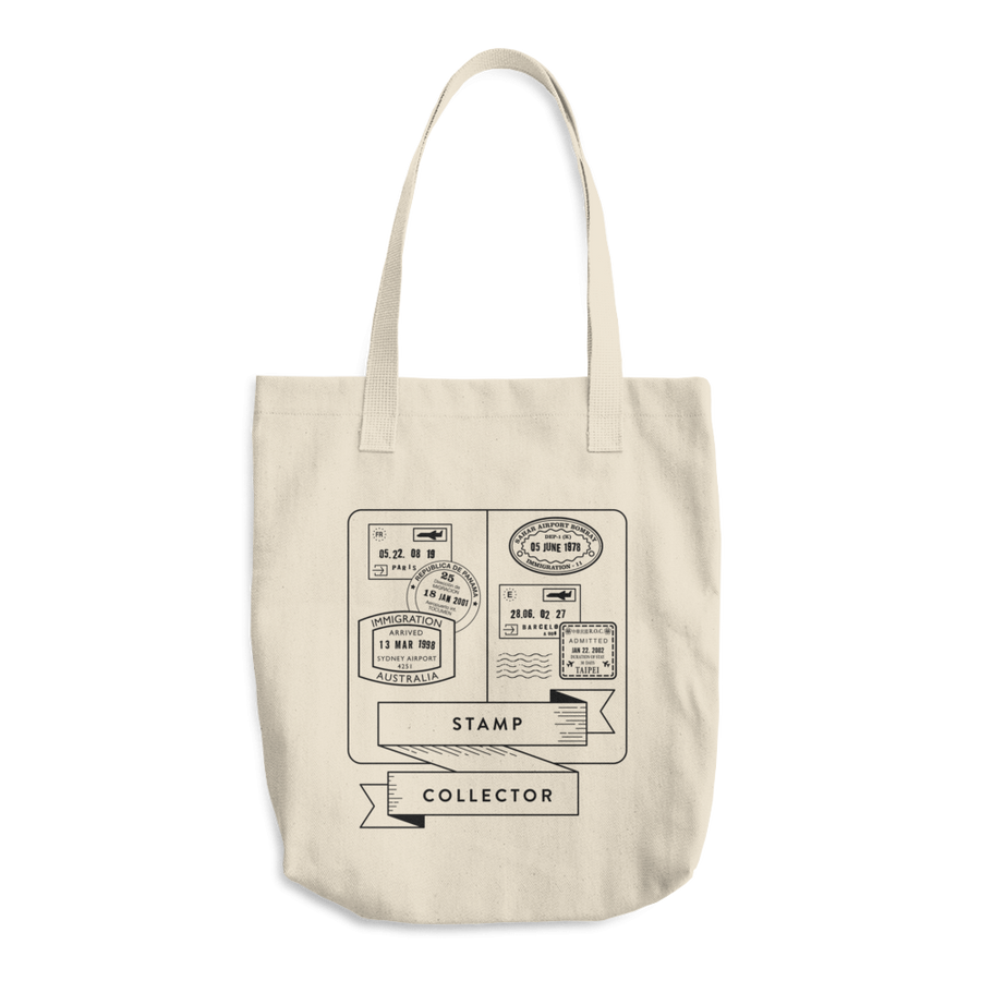 Travel Themed Denim Cotton Tote Bag: Stamp Collector