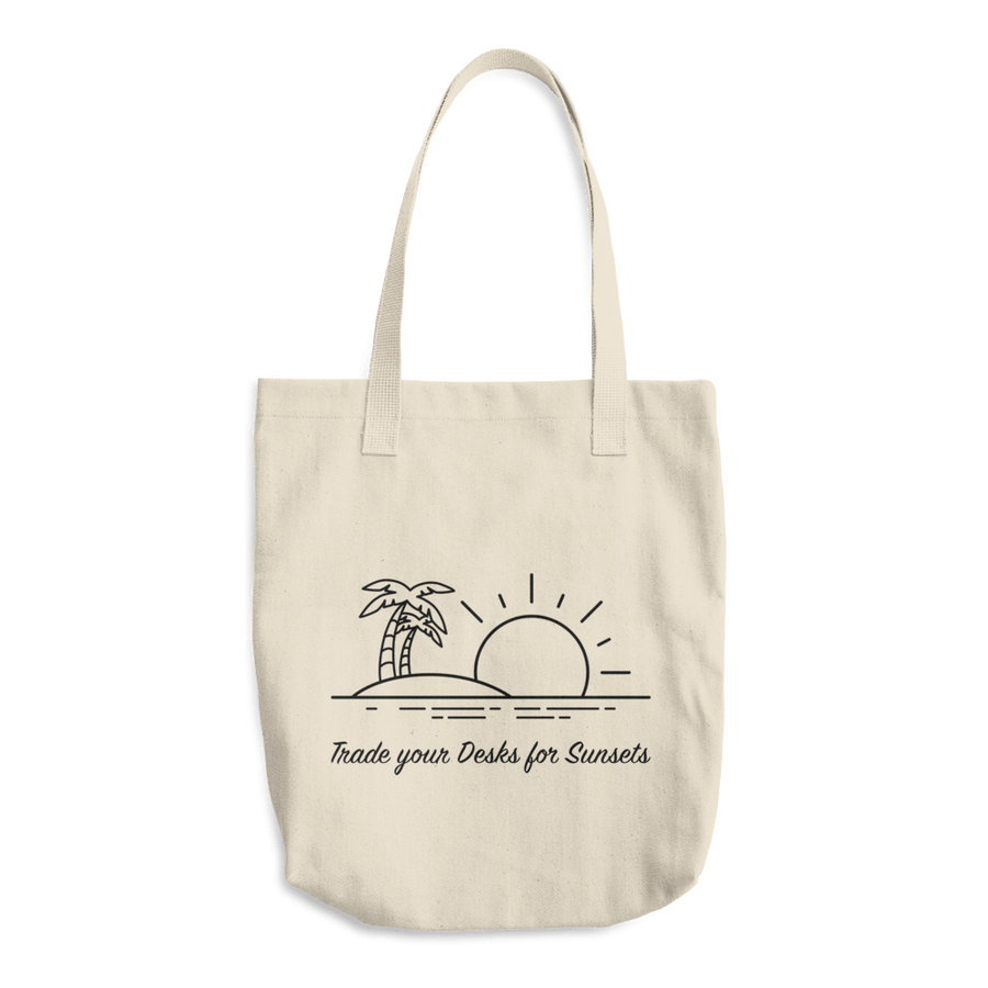 Travel Themed Denim Cotton Tote Bag: Trade Desks for Sunsets