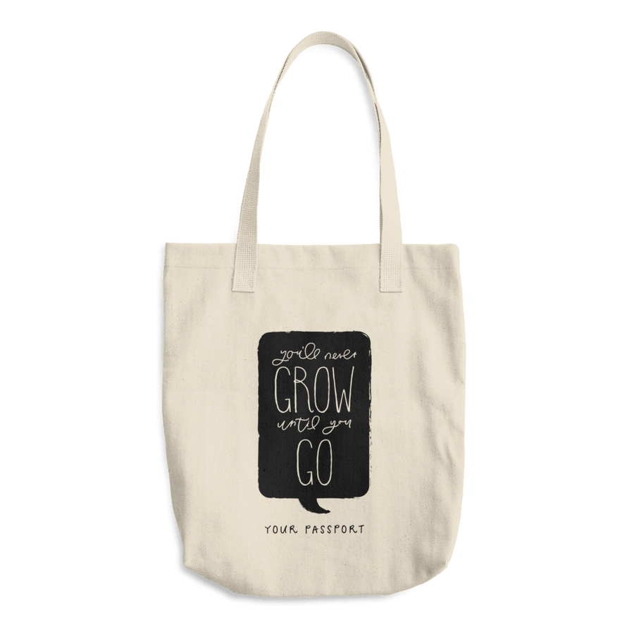Travel Themed Denim Cotton Tote Bag: Wont Grow Until You Go