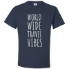 Travel Themed T-Shirt: Worldwide Travel Vibes Navy Blue