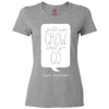 Travel Themed T-Shirt: Wont Grow Until You Go Ladies Gray